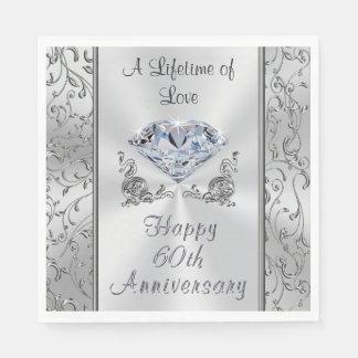 Beautiful Diamond 60th Anniversary Napkins Disposable Napkin