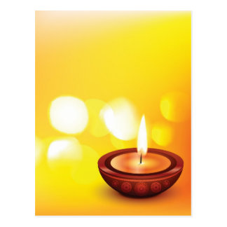 Beautiful diwali diya illustration postcard