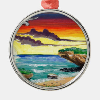 Beautiful Dominican Beach Hand Painted by Alex.jpg Silver-Colored Round Ornament