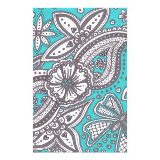 beautiful doodle on turquoise background stationery