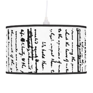 Beautiful draft script by Thos. Jefferson 1776 Pendant Lamp