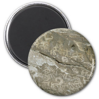 Beautiful Drawings on sacred rocks at Hunza, north 2 Inch Round Magnet