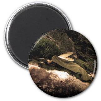 Beautiful Dreaming Woods Fairy Round Magnet