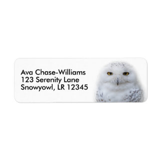 Beautiful, Dreamy and Serene Snowy Owl Return Address Label