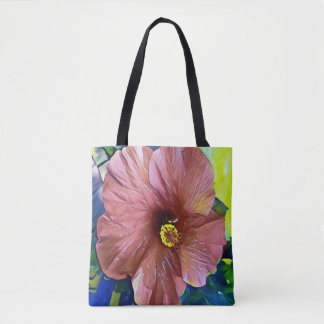 Beautiful Dusty Rose Artistic Hibiscus Flower Tote Bag