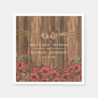 Beautiful Dusty Rose Lily Flowers Paper Napkins