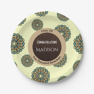 Beautiful Earth Tone Abstract Graduation 7 Inch Paper Plate