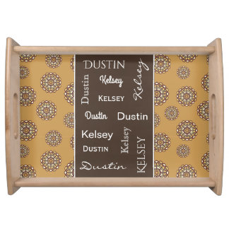Beautiful Earth Tones Floral w/Names Serving Tray