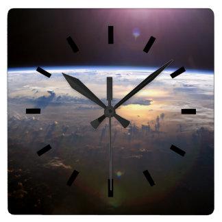 Beautiful Earth Yuri Gagarin Square Wall Clock