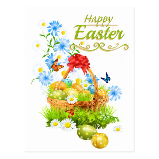 Beautiful Easter Basket and Spring Flowers Postcard