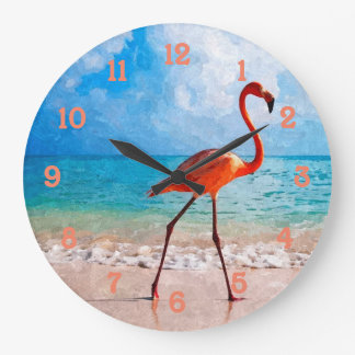 Beautiful Elegant Flamingo On Beach Watercolor Art Large Clock