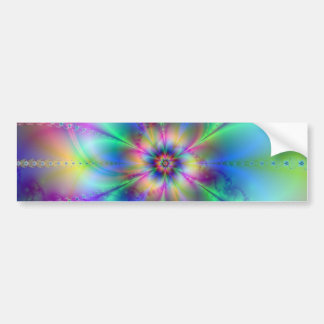 Beautiful elegant flowers fractal art effects blue bumper sticker