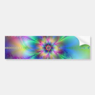 Beautiful elegant flowers fractal art effects blue bumper sticker