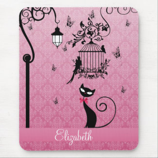 Beautiful elegant girly vintage love birds cage mouse pad