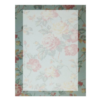 Beautiful elegant girly vintage yellow pink roses customized letterhead