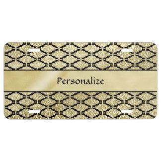 Beautiful Elegant Gold & Black Symetrical License Plate