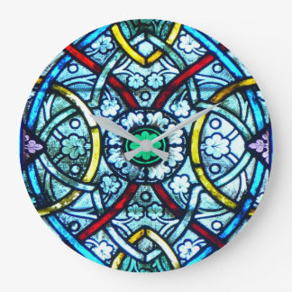 Beautiful Elegant Stained Glass Notre Dame Paris Large Clock