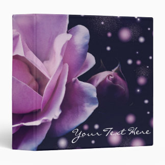 beautiful elegant stylish flower   purple rose 3 ring binder