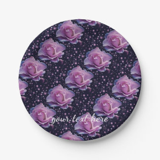 beautiful elegant stylish flower | purple rose paper plate