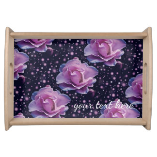 beautiful elegant stylish flower | purple rose serving tray
