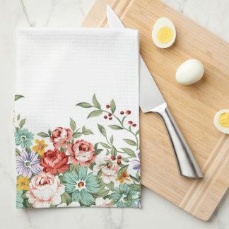 Beautiful elegant vintage spring floral bouquets kitchen towel