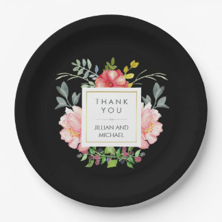Beautiful Elegant Watercolor Peonies on Black Paper Plate