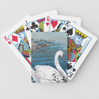 Beautiful Elegant White Swan Swimming in Lake Poker Deck