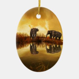 beautiful elephant Thailand sunset Ceramic Ornament