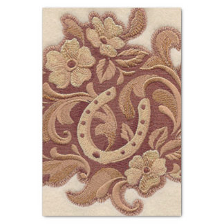 Beautiful Embroidery Flowers and Horseshoes Tissue Paper