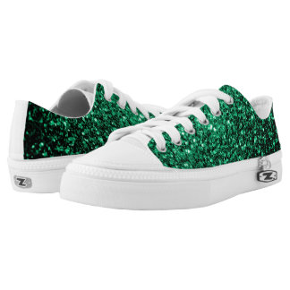 Beautiful Emerald Green glitter sparkles Low-Top Sneakers