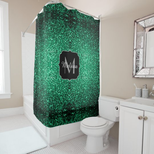 Beautiful Emerald Green glitter sparkles Monogram