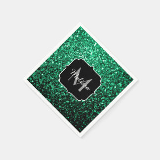 Beautiful Emerald Green glitter sparkles Monogram Disposable Napkin