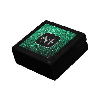 Beautiful Emerald Green glitter sparkles Monogram Gift Box