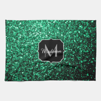 Beautiful Emerald Green glitter sparkles Monogram Kitchen Towel