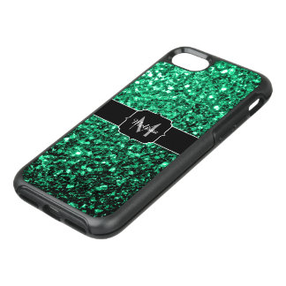 Beautiful Emerald Green glitter sparkles Monogram OtterBox Symmetry iPhone 8/7 Case