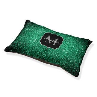 Beautiful Emerald Green glitter sparkles Monogram Pet Bed