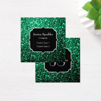 Beautiful Emerald Green glitter sparkles Monogram Square Business Card