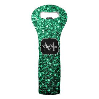 Beautiful Emerald Green glitter sparkles Monogram Wine Bag