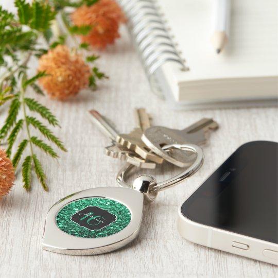 Beautiful Emerald Green sparkles Sweet 16 keychain