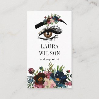 Beautiful Eye with White Watercolor Flowers Business Card