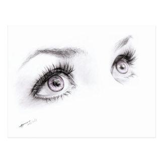 Beautiful eyes drawing minimalist art Postcard