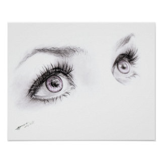 Beautiful eyes drawing minimalist art Poster print