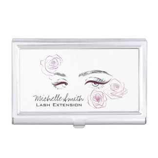 Beautiful eyes Long lashes Roses Lash Extension Business Card Holder