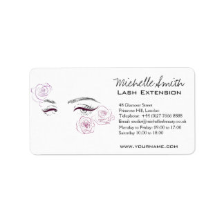 Beautiful eyes Long lashes Roses Lash Extension Label