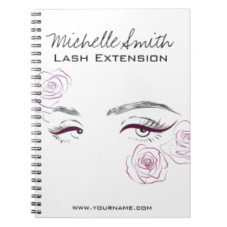 Beautiful eyes Long lashes Roses Lash Extension Notebook