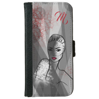 Beautiful Face Fashion Illustration Art iPhone 6 Wallet Case