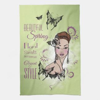 Beautiful Face Fashion Illustration Kitchen Towel