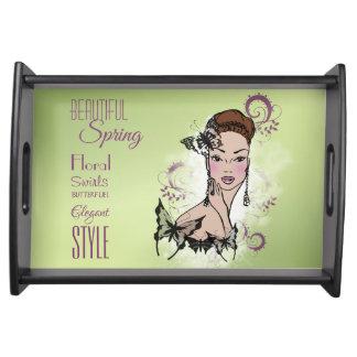 Beautiful Face Fashion Illustration Serving Tray