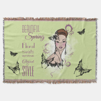 Beautiful Face Fashion Illustration Throw Blanket