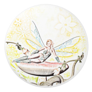 Beautiful fairy ceramic knob